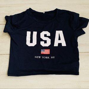 Navy blue USA crop top tee